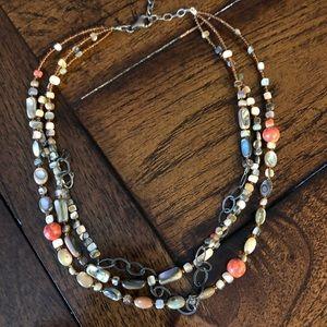 Silpada Shell, Sponge Coral & Seed Bead Necklace